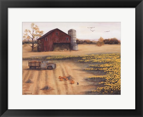 Framed Barn & Sunflowers II Print
