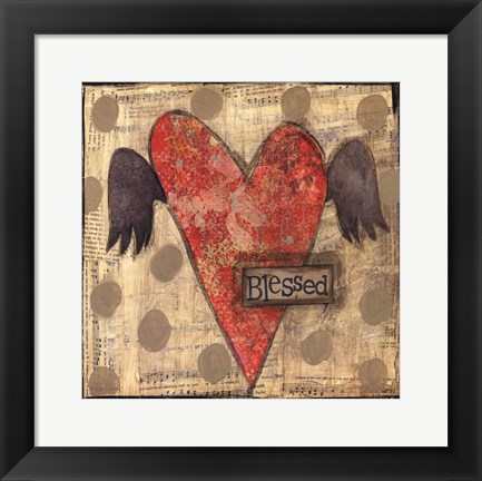 Framed Blessed Heart with Wings Print