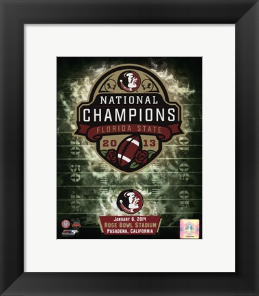 Framed Florida State Seminoles 2014 BCS National Champions Team Logo Print