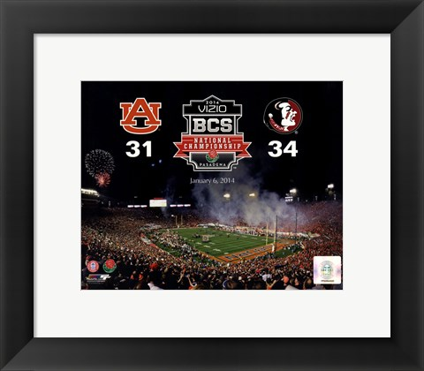 Framed 2014 BCS National Championship Florida State Seminoles vs. Auburn Tigers at the Rose Bowl Print
