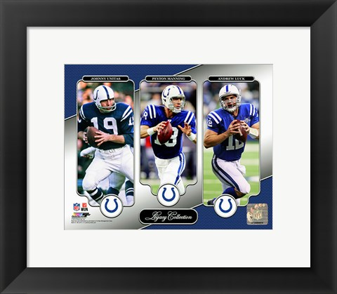Framed Johnny Unitas, Peyton Manning, & Andrew Luck Legacy Collection Print