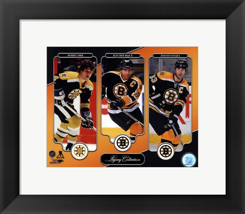 Framed Bobby Orr, Ray Bourque, & Zdeno Chara Legacy Collection Print