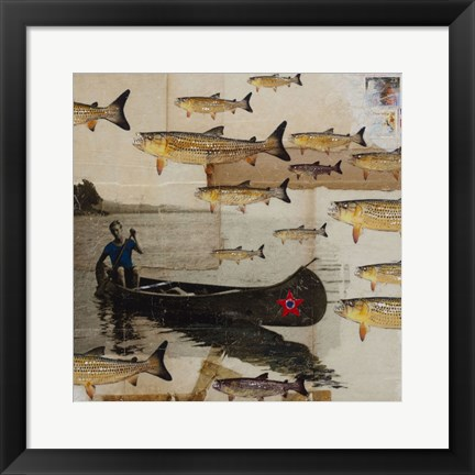 Framed Canoeing In Troubled Waters Print