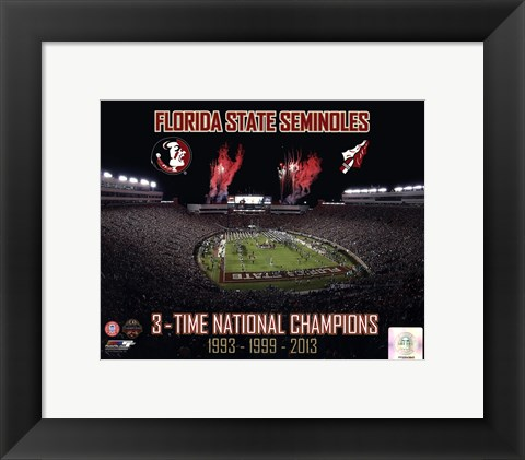 Framed Florida State Seminoles 3- Time National Champions Print