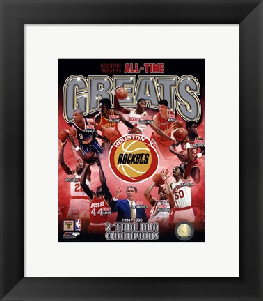 Framed Houston Rockets All-time Greats Composite Print