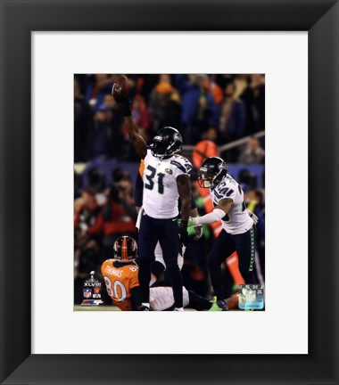 Framed Kam Chancellor & Earl Thomas Celebrate Chacellor's Interception Super Bowl XLVIII Print