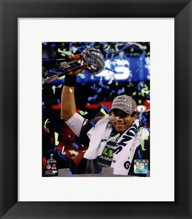 Framed Russell Wilson with the Vince Lombardi Trophy Super Bowl XLVIII Print