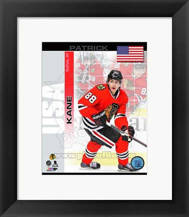 Framed Patrick Kane- USA Portrait Plus Print