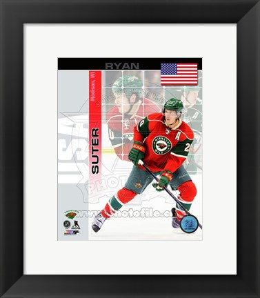 Framed Ryan Suter - USA Portrait Plus Print