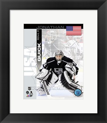 Framed Jonathan Quick - USA Portrait Plus Print