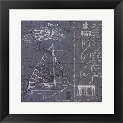 Framed Coastal Blueprint III Print