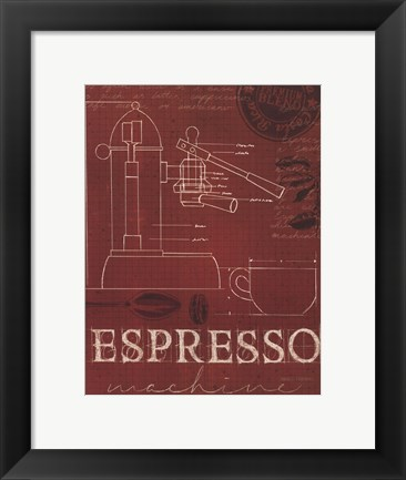 Framed Coffee Blueprint IV v Print