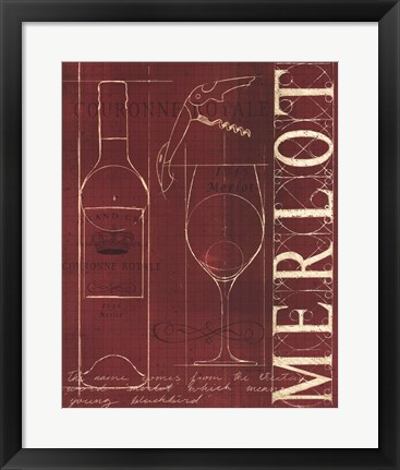 Framed Wine Blueprint II v Print