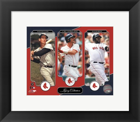 Framed Ted Williams, Carl Yastrzemski, David Ortiz Legacy Collection Print