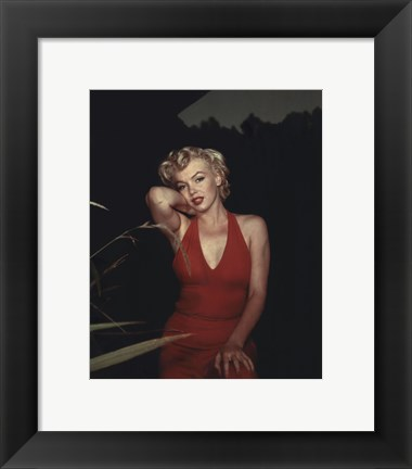 Framed Marilyn Monroe 1954 Red Dress Print