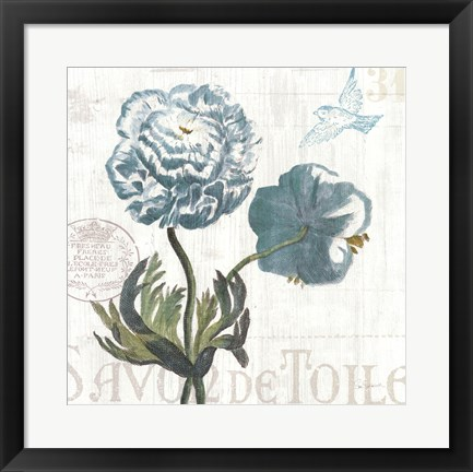 Framed Floral Messages on Wood I Blue Print