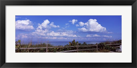 Framed Fence on the beach, Tampa Bay, Gulf Of Mexico, Anna Maria Island, Manatee County, Florida, USA Print