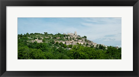 Framed Town on a hill, Lacoste, Vaucluse, Provence-Alpes-Cote d'Azur, France Print