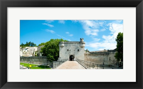 Framed Bridge leading to the city gate, Pont Saint-Benezet, Rhone River, Avignon, Vaucluse, Provence-Alpes-Cote d'Azur, France Print