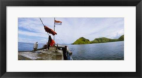 Framed Boat in the sea with islands in the background, Flores Island, Indonesia Print