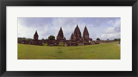 Framed 9th century Hindu temple Prambanan on Java Island, Indonesia Print