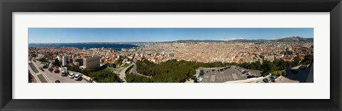 Framed High angle view of a city, Marseille, Bouches-Du-Rhone, Provence-Alpes-Cote D'Azur, France Print
