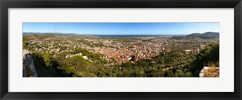 Framed High angle view of a town, Hyeres-les-palmiers, Cote D'Azur, Provence-Alpes-Cote D'Azur, France Print