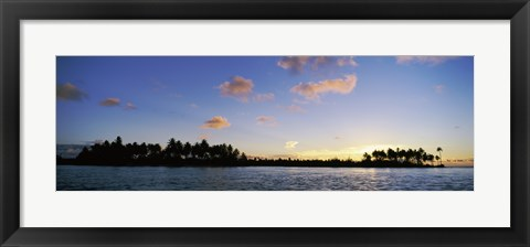 Framed Motus at Sunset, Bora Bora, Society Islands, French Polynesia Print