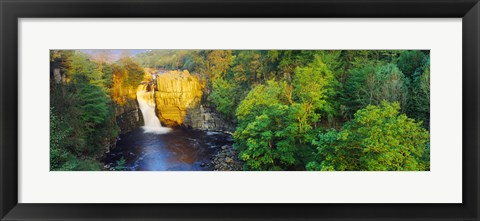 Framed Waterfall in a forest, High Force, River Tees, Teesdale, County Durham, England Print