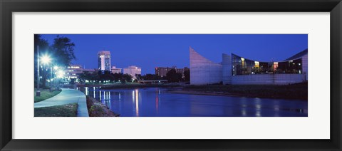 Framed Downtown Wichita at night, Kansa Print