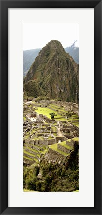 Framed High angle view of an archaeological site, Machu Picchu, Cusco Region, Peru Print