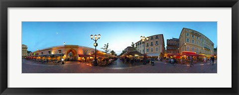 Framed Street with buildings at dusk, Nice, Alpes-Maritimes, Provence-Alpes-Cote d'Azur, France Print