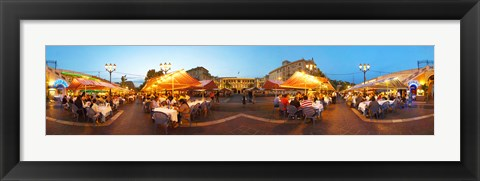 Framed People having outdoor dining at evening, Nice, Provence-Alpes-Cote d'Azur, France Print