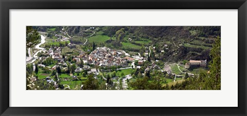 Framed High angle view of a town, Annot, Alpes-de-Haute-Provence, Provence-Alpes-Cote d'Azur, France Print