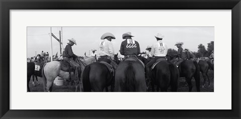 Framed Cowboys on horses at rodeo, Wichita Falls, Texas, USA Print