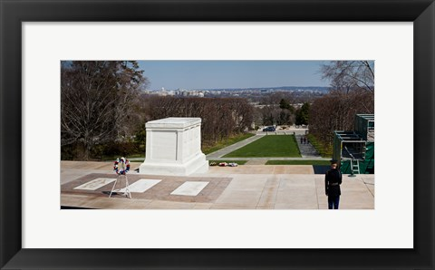 Framed Tomb of a soldier in a cemetery, Arlington National Cemetery, Arlington, Virginia, USA Print