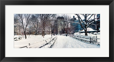 Framed Snow covered park, Union Square, Manhattan, New York City, New York State, USA Print