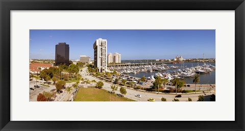 Framed Boats at a marina, West Palm Beach, Palm Beach County, Florida, USA Print