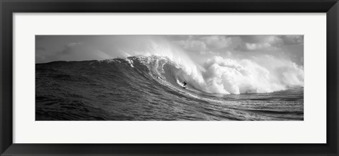 Framed Surfer in the sea in Black and White, Maui, Hawaii Print