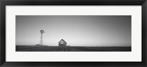 Framed Farmhouse and Windmill in a Field, Illinois (black & white) Print