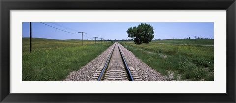 Framed Telephone poles along a railroad track, Custer County, Nebraska Print