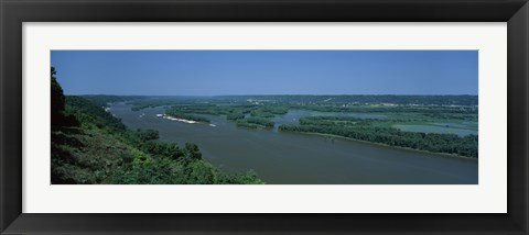 Framed River flowing through a landscape, Mississippi River, Marquette, Prairie Du Chien, Wisconsin-Iowa, USA Print