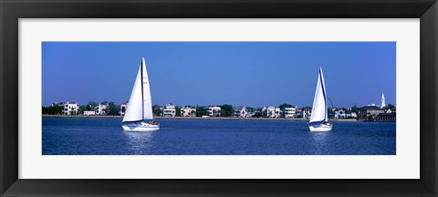 Framed Sailboats in the Atlantic ocean with mansions in the background, Intracoastal Waterway, Charleston, South Carolina, USA Print