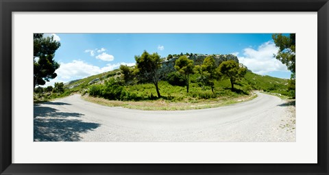 Framed Curve in the road, Bouches-Du-Rhone, Provence-Alpes-Cote d'Azur, France Print