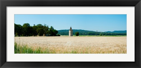 Framed Wheatfield with stone tower, Meyrargues, Bouches-Du-Rhone, Provence-Alpes-Cote d'Azur, France Print