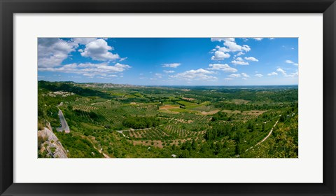 Framed Valley with Olive Trees and Limestone Hills, Les Baux-de-Provence, Bouches-Du-Rhone, Provence-Alpes-Cote d'Azur, France Print