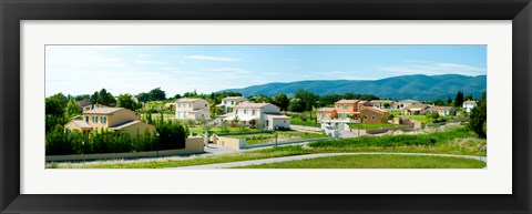 Framed High angle view of houses, Ansouis, Vaucluse, Provence-Alpes-Cote d'Azur, France Print