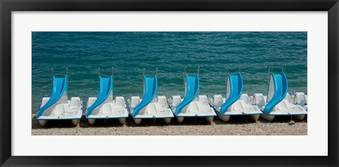 Framed Slide boats on beach, Lac de Sainte Croix, Alpes-de-Haute-Provence, Provence-Alpes-Cote d'Azur, France Print
