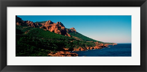 Framed Red rocks in the late afternoon summer light at coast, Esterel Massif, French Riviera, Provence-Alpes-Cote d'Azur, France Print