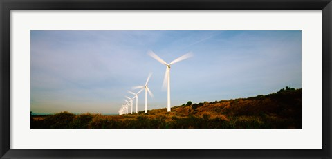 Framed Wind turbines in motion, Provence-Alpes-Cote d'Azur, France Print